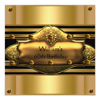 Mens 60th Birthday Party Gold Black Mans Personalized Invitation