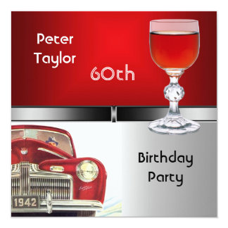 Mens 60th Birthday Party Red Metal Silver Red Car Card