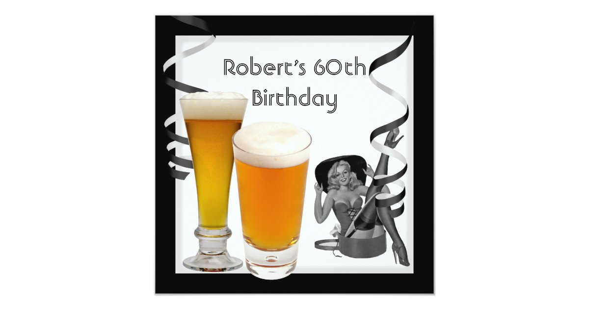 Mens 60th birthday party retro girl pinup beer card zazzle - Birthday decorations for mens th ...
