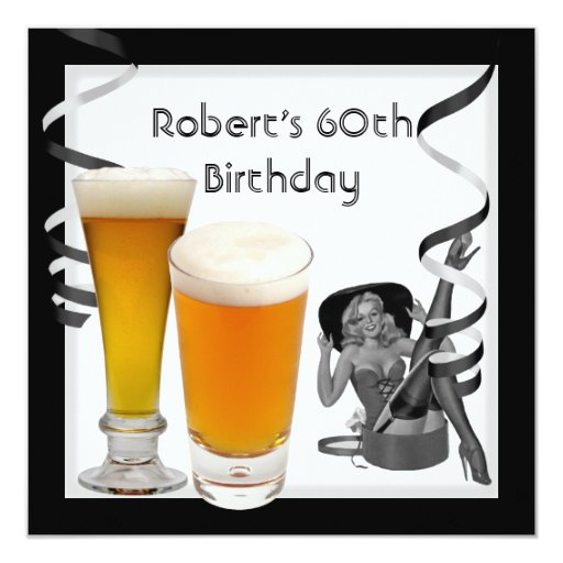Mens 60th Birthday Party Retro Girl PINUP Beer Personalized Invitation