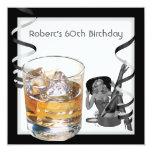 Mens 60th Birthday Party Retro Girl PINUP Scotch 2 Custom Invite