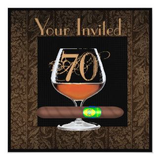 MENS 70th Birthday INVITATIONS COGNAC TEMPLATE