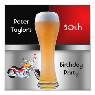 Mens 70th Birthday Party Red Beer Motorbike Invitations