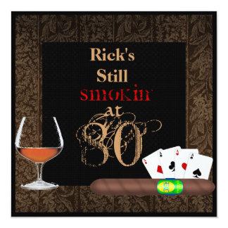 MENS 80th Birthday Cigars,Poker BRANDY INVITATIONS