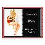 Mens 80th Birthday Party Red Black Pin-up 4.25x5.5 Paper Invitation Card