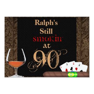MENS 90th Birthday Cigars,Poker BRANDY INVITATIONS