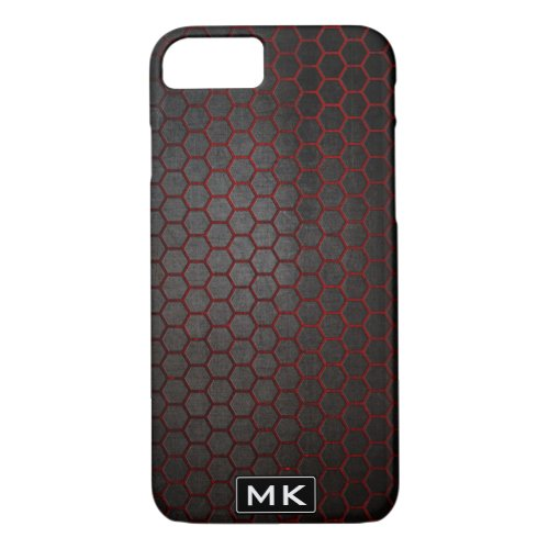 Men's Abstract Honeycomb Black and Red Monogram Phone Case
