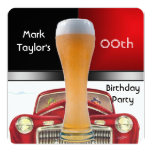 Mens Add Age Birthday Party Red Beer Old Car Invitation