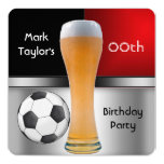 Mens Add Age Birthday Party Red Beer Soccer Ball Invitation