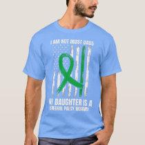 Mens American Flag Green CP Dad Cerebral Palsy T-Shirt