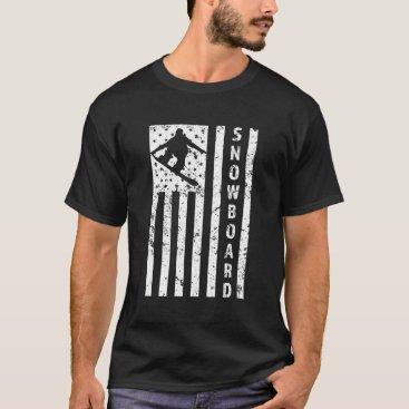 Beach Themed Men's American Flag Snowboarder T-shirt
