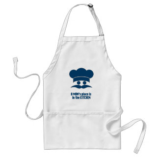 "Mens' Apron: ""A Man's Place is in the Kitchen"" Adult Apron"