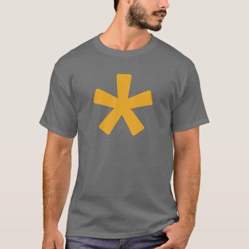 Mens Asterisk T_Shirt Dark Grey with Mustard