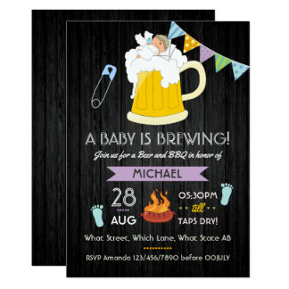 Men's Baby Shower Dadchelor Beer and BBQ Party Card