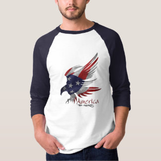 Men's Baseball Jersey 3/4 Sleeve Patriotic T-Shirt