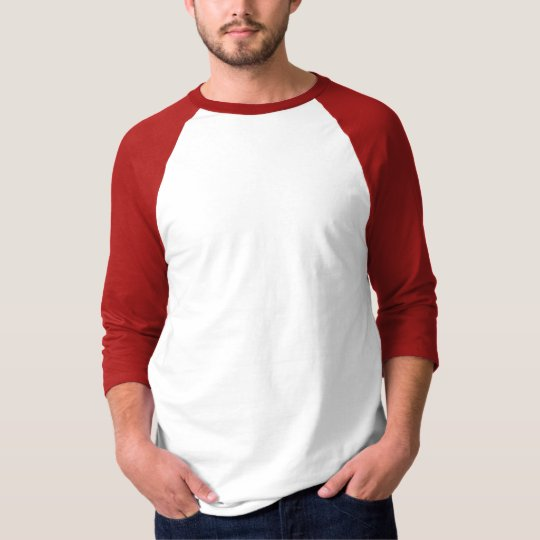 Mens Basic 3/4 Sleeve Raglan 2 White/Red T-Shirt