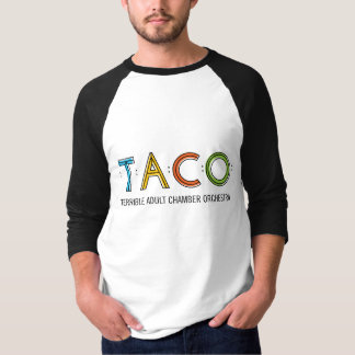Men's Basic 3/4 Sleeve TACO T-Shirt, White/Black T-Shirt