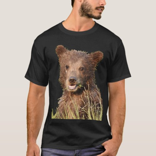Mens Basic Dark T_Shirt w grizzly bear cub