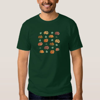 Men's basic dark T-shirt with pumpkins and leaves