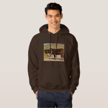 Men's Basic Hoodie/Sweatshirt Brown Cows in Chrome Hoodie