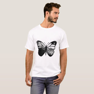 Men's Basic T-Shirt - Black/White Butterfly