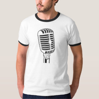 Men's Basic T-Shirt, White/Black Retro Microphone T-Shirt