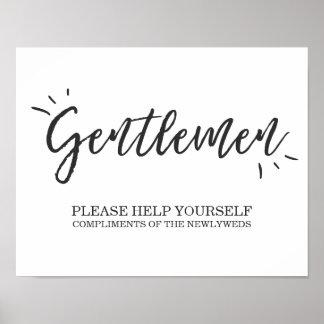 Mens Bathroom Wedding Sign Gentlemen sign Elegant