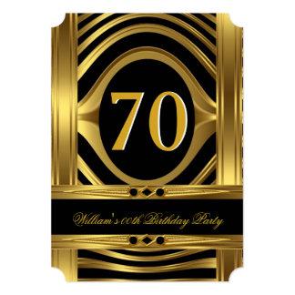 Men's Birthday Metal Gold Look Black Jewel Card
