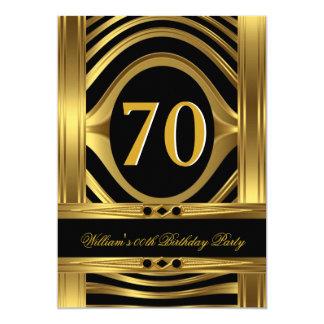 Men's Birthday Metal Gold Look Black Jewel 5x7 Paper Invitation Card
