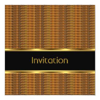 Mens Birthday Party Bamboo Rattan Black Gold Trim Card