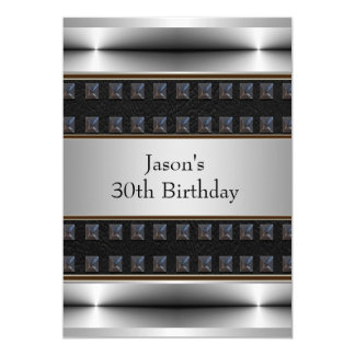 Mens Birthday Party Black Leather Chrome 5x7 Paper Invitation Card
