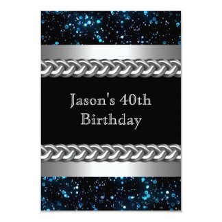 Mens Birthday Party Blue Metal Chrome Silver Image Card