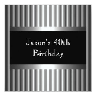 Mens Birthday Party Metal Chrome Black Silver 40th Card