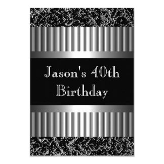 Mens Birthday Party Metal Chrome Look Images Card