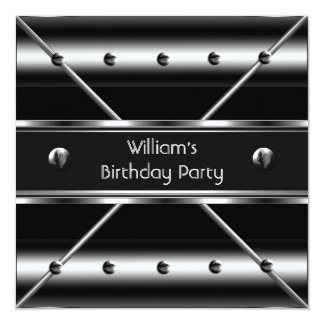 Mens Birthday Party Silver Metal Black Mans Personalized Invitation