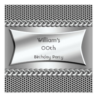 Mens Birthday Party Silver Metal Look Card
