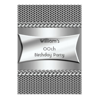 Mens Birthday Party Silver Metal Look Chrome Card