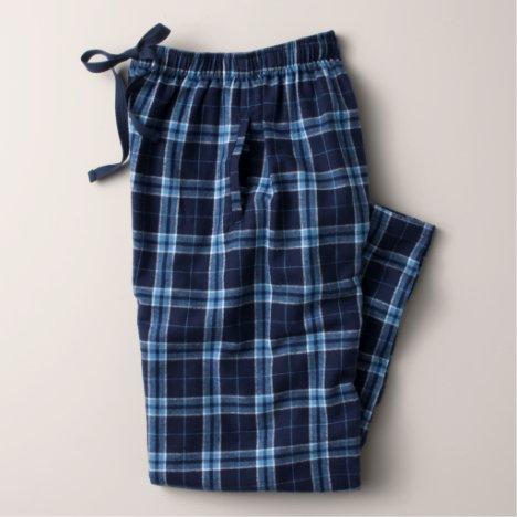 Men's Black and White Flannel Pajama Bottoms