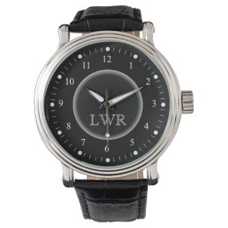 Men's Black and White Monogram Watch