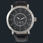 "Men&#39;s Black and White Monogram Watch<br><div class=""desc"">Elegant and classy, clean and simple customized monogrammed watches for the special man on your gift list. Classic easy to read white numbers with hash marks on black face. Bold and sophisticated for traditional style gentlemen -- click Customize It to change the font sizes, style or colors. Novelty monogram watches...</div>"