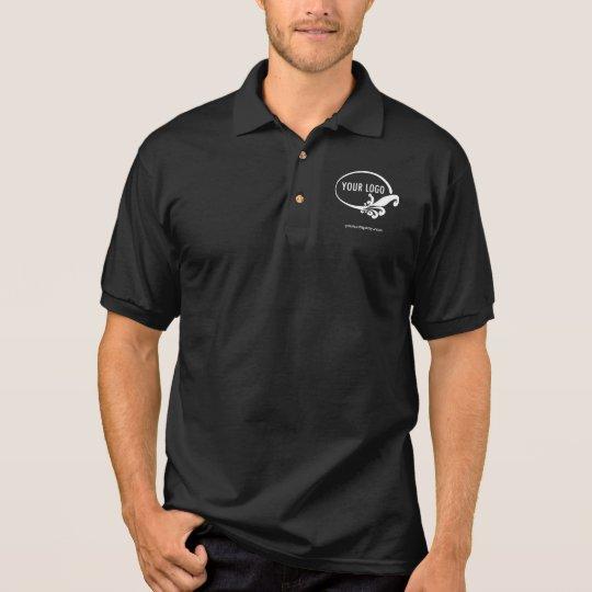 Men's Black Business Polo Shirt with Custom Logo | Zazzle.com