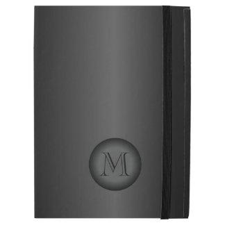 Mens Black Gray Gradient Monogram iPad Pro Case