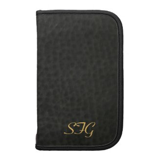 Mens Black Leather Monogram Daily Planner