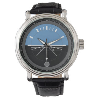 Men's Black Leather Watch Aviation