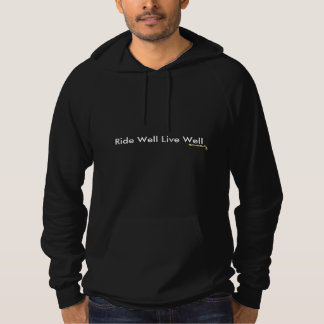 Men's black pullover hoodie with riding logo