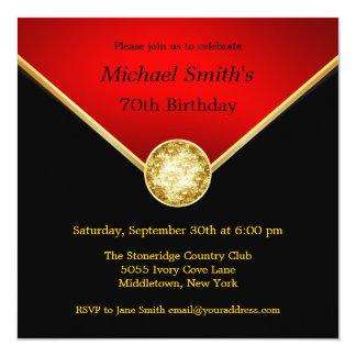 Mens Black Red Gold Elegant Birthday Invitations