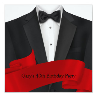 Mens Black Red Tuxedo Birthday Party Card