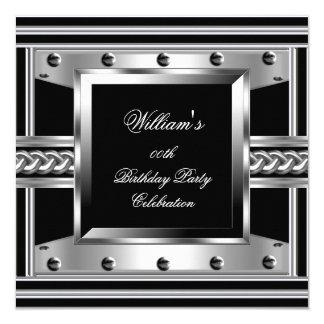 Men's Black Silver Birthday Party Metal Studs Look Card