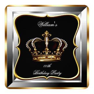 Men's Black Silver Gold Birthday Prince King 2 Card