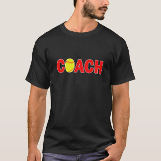 Men's Black Softball Coach T-shirt